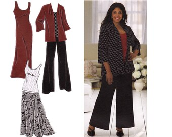 Simplicity 2948 Khaliah Ali Plus Size Womens Sewing Pattern. Knit Dress, Top, Pants, Jacket, Skirt - B48 to B54
