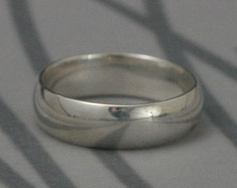 Plain Jane 6mm Wide Solid Sterling Silver Wedding Band--Rounded Traditional Ring--Men's Wedding Band