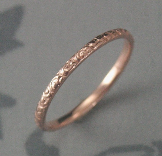 Solid 14K Rose Gold Rococo in the Disco Wedding Band--Solid 14K Gold Swirl Patterned Ring Custom made in YOUR Size