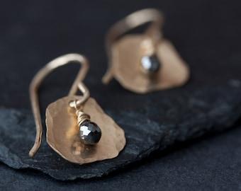 Black Diamond Petal Earrings in Gold
