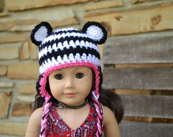 18 inch Doll Clothes - Crocheted Beanie with Ear Flaps -Panda Stripes - MADE TO ORDER - fits American Girl