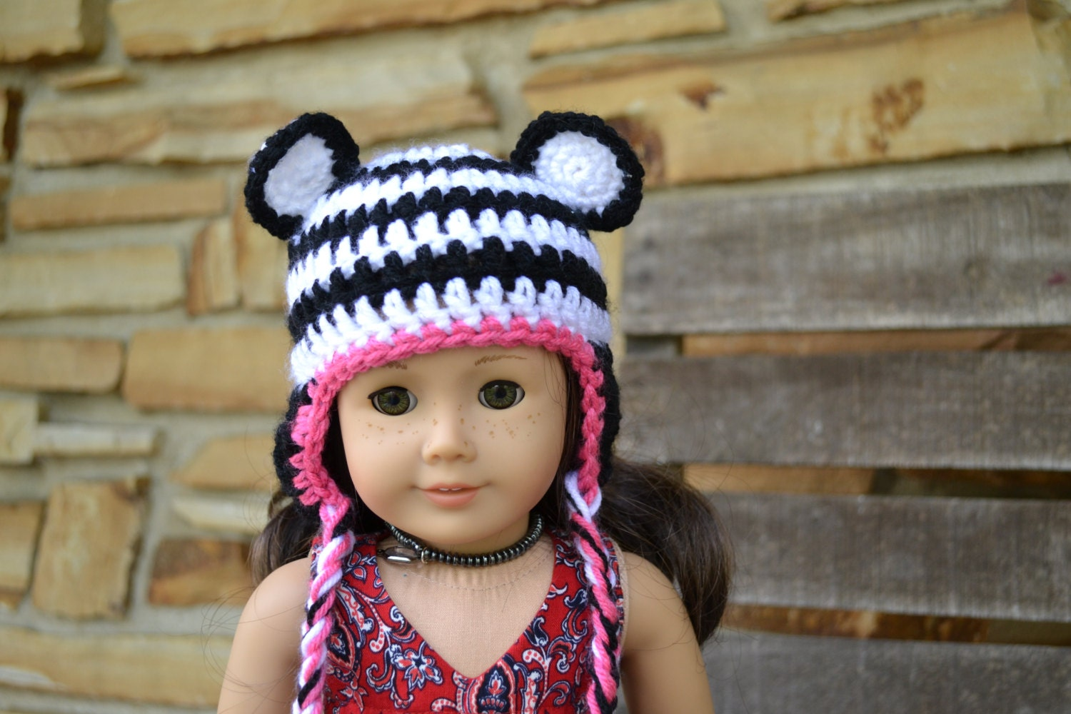 Crocheting Doll Clothes : 18 inch Doll Clothes Crocheted Beanie with by camelotstreasures