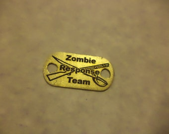 Zombie Response Team etched brass shoelace tag