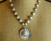 Shell and Freshwater Pearl Beaded Flower Necklace