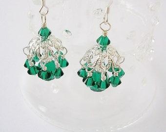 Emerald Green Crystal Chandelier Dangle Earrings on Sterling Earwires