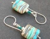 earrings lampwork blues, silvered ivory beads-  blue on blue ivory silvered strata beads- aqua strata