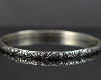 Sterling Bangle Bracelet - Victorian Flower Bracelet