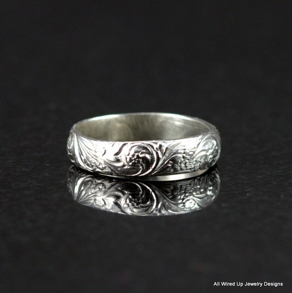 Sterling Silver Floral Pattern Band Ring Flower By PPennee