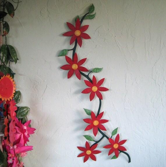 metal art sculpture climbing flower vine upcycled metal floral. Black Bedroom Furniture Sets. Home Design Ideas
