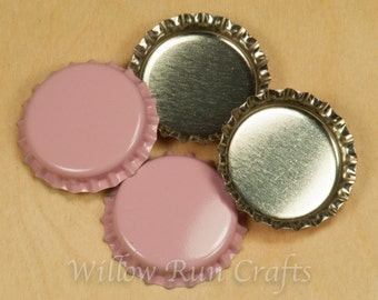 50 Pink/SIlver Bottle Caps (03-02-120)