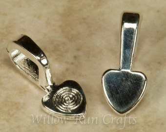 25 Medium Shiny Silver Plated Heart Bails, Necklace bails (07-06-300)