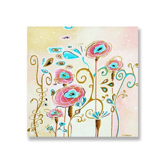 Flower Art Original Acrylic Painting on Canvas, Pink Floral Art, Floral Decor, Decorative Wall Art 20x20