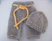 Knit baby pants with drawstring and beanie hat set - Newborn to 3 months - photo shoot prop - hand knit