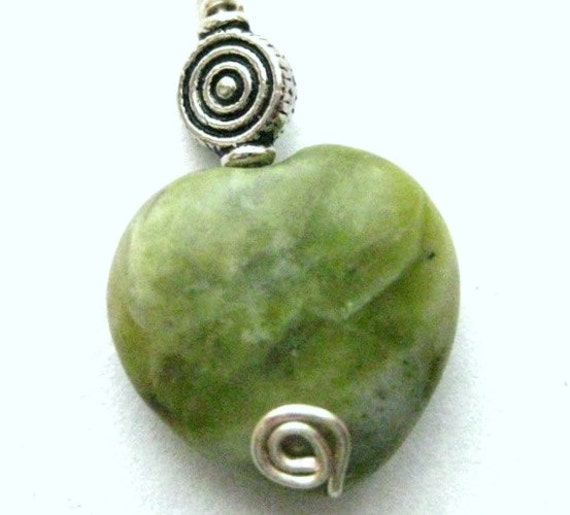 Connemara Marble Pendant.  Irish Heart Pendant with Celtic Spirals.   Fidelity
