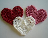 Trio of Crocheted Hearts - Red, Rose Pink and White - Cotton Hearts - Crocheted Heart Appliques - Crocheted Heart Embelishments