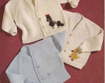 "PDF Knitting Pattern Baby Cardigans to fit sizes 21-22"" (X49)"
