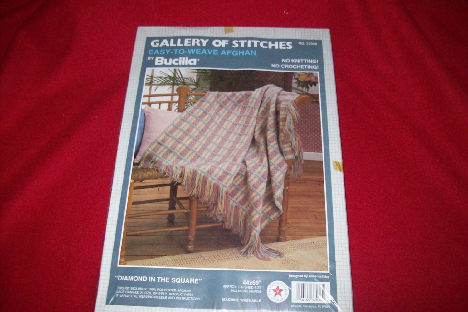 Vintage Bucilla Easy To Weave Afghan Kit Diamond in the Square