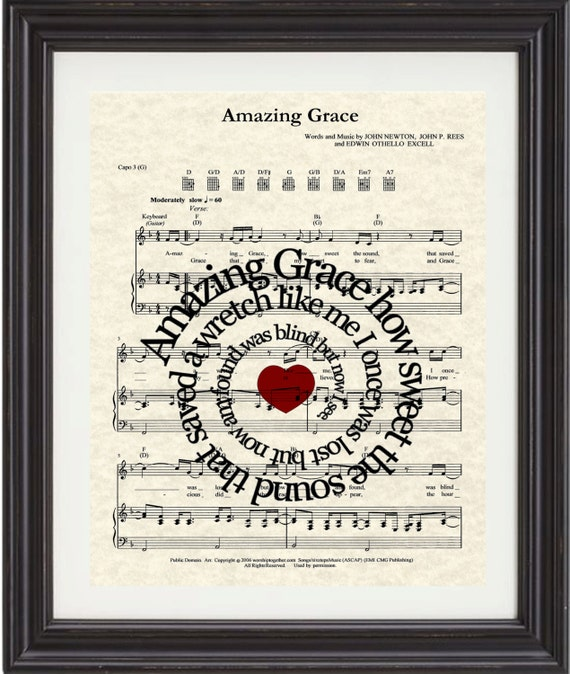 Amazing Grace Lyrics And Sheet Music: Amazing Grace Song Lyric Sheet Music Art Sheet By