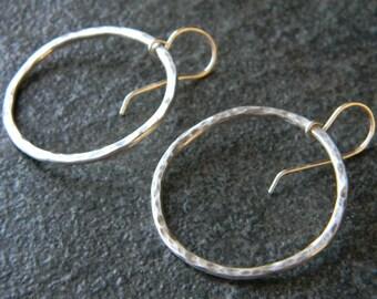 Medium Sized Textured Silver Hoop Earrings