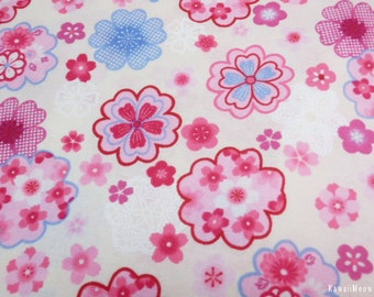 "Scrap / Japanese Fabric - Girlie Sakura Lace on Ivory - 106cm x 52cm(42""W x 20""L) (130228i)"