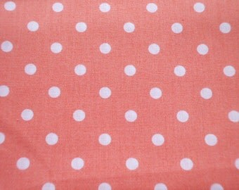 Kawaii Japanese Fabric - Pastel Color Polka Dots on Mandarin Orange - Fat Quarter (ko0805)