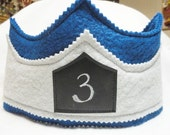 Prince Crown, Chalk Cloth Birthday Crown, Royal Blue and Silver Grey, Wool Crown for Girl or Boy