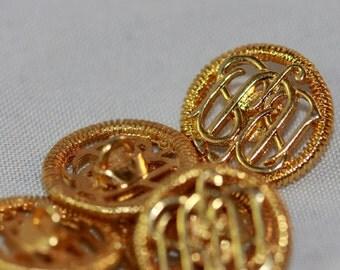 Decorative Filigree S Curve Brass-Gold Vintage Shank Buttons (8) 12 mm Metallic, Uniform