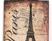 French Paris Eiffel Tower and Roses Wood Wall Plaque