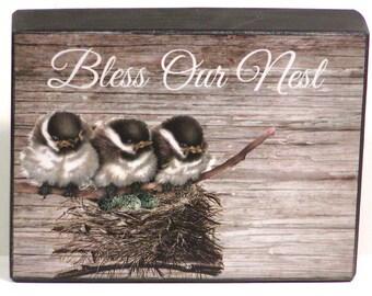 Bless Our Nest Custom Decorative Wood Block Shelf Sitter Whimsical Birds Sign