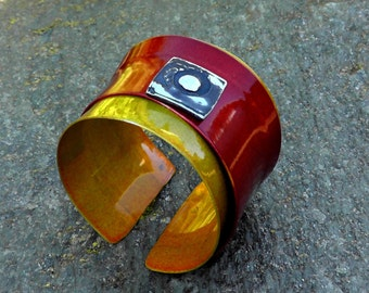 NEW Lady  in gold  Aluminum Cuff Abstract  one of a kind Art Studio Canada