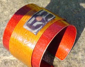 1 Bohemian Sammer Lady  in gold  Aluminum Cuff Abstract  one of a kind  Art Studio Canada