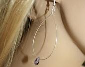 Sterling silver wire hoop earrings - Swarovski crystal Amethyst-purple faceted teardrop bead