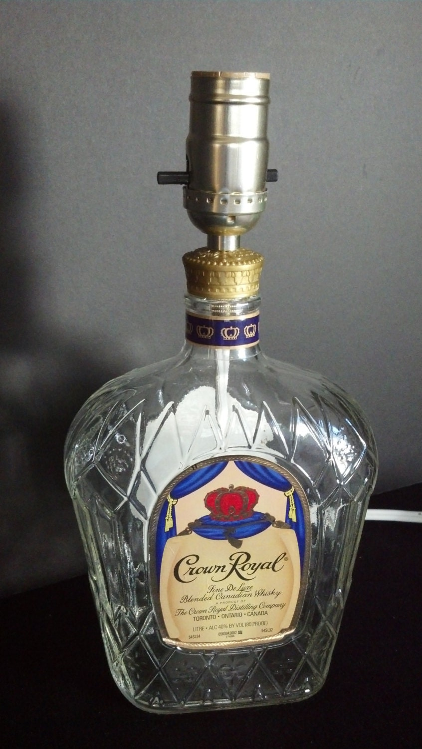 Crown Royal Whisky Recycled Bottle Lamp 1 Liter