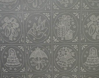 Vintage Wedding Shower Gift Wrap 1970s Wrapping Paper--3 Sheets--Classic Silver & White Print for a LARGE Shower Gift