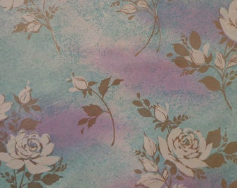 Vintage Gift Wrap 1950s All Occasion Wrapping Paper-2 Sheets NIP-White Rose Floral Misty Blue & Lilac