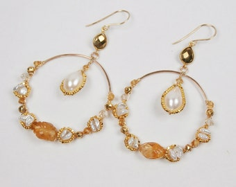 Gold Gemstone Hoop Earrings, Hammered Hoop, Wire Wrap Gem, 14kt Gold Fill, Citrine, Keishi Pearl, Statement Earrings