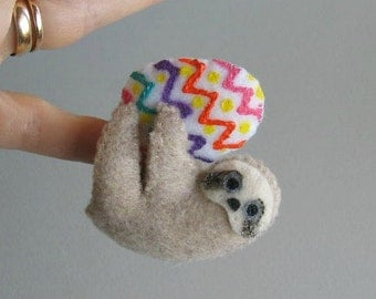 Easter egg Sloth miniature felt plush stuffed animal with bendable legs and hand painted face -rain forest animal