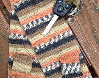 Fingerless gloves striped wool hand knit -  Michelango