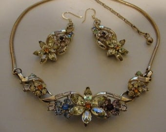vintage coro necklace and remade pierced coro earrings