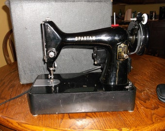 Antique Vintage Spartan Portable Sewing Machine In Case Working Sweet SALE