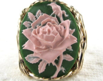 Pink Rose Cameo Ring 14Kt Yellow Rolled Gold Custom Jewelry