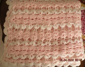 Handmade Crochet Baby Afghan Pink and White