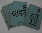 10 Vintage Math Flash Cards Blue Division Multiplication Collage Scrapbook Supply