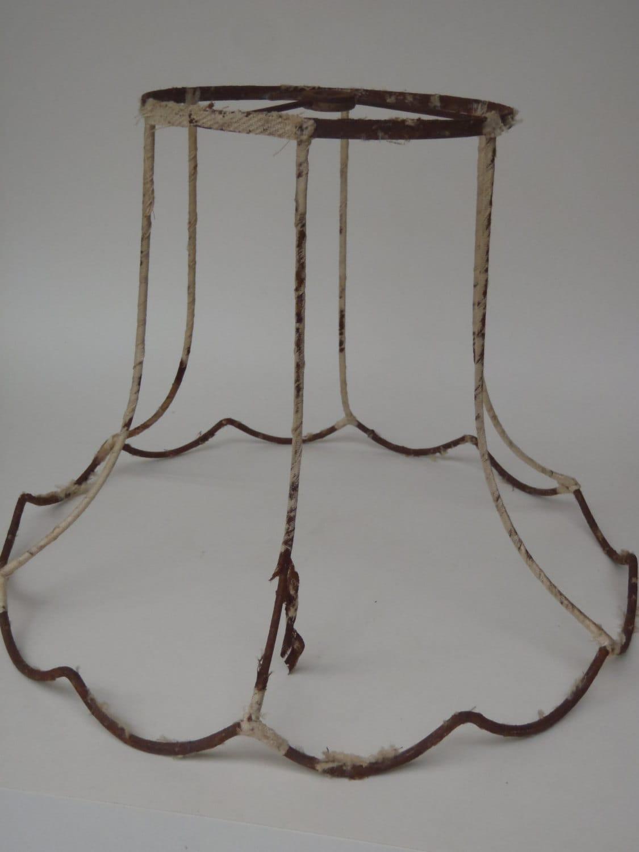 vintage wire lamp shade frame shabby rustic by veesvintage. Black Bedroom Furniture Sets. Home Design Ideas