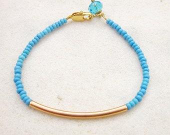 Skinny bar bracelet, gold tube beaded bracelet, seed bead stacking bracelet, minimal bracelet, dainty bracelet, turquoise blue bracelet,