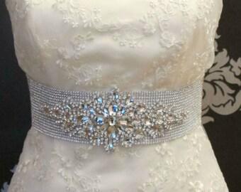 LUX Bridal Crystal Belts Beaded Crystal Wedding Sash Belt