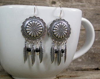 Silver Concho Earrings, Tribal Earrings, Southwestern Earrings, Bohemian Earrings, Feather Earrings, Native Earrings, Tribal Jewelry