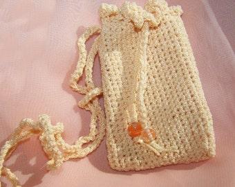 Peach Crochet Medicine Bag Pouch bg12