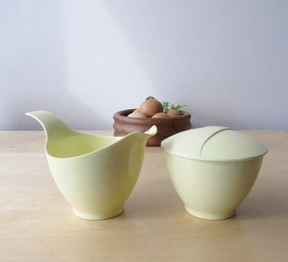 lemon yellow melmac cream and sugar set by Debonaire
