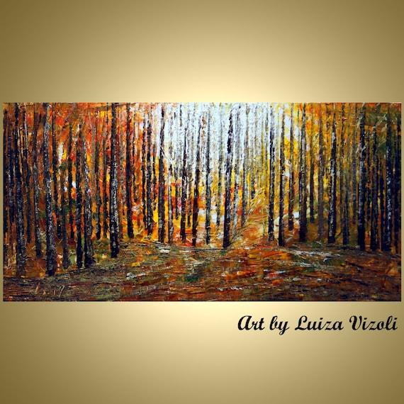 Original Modern Impressionism Trees Landscape Forest CARAMEL SUNSET Oil Painting Wall Hanging Artwork by Luiza Vizoli 36x24